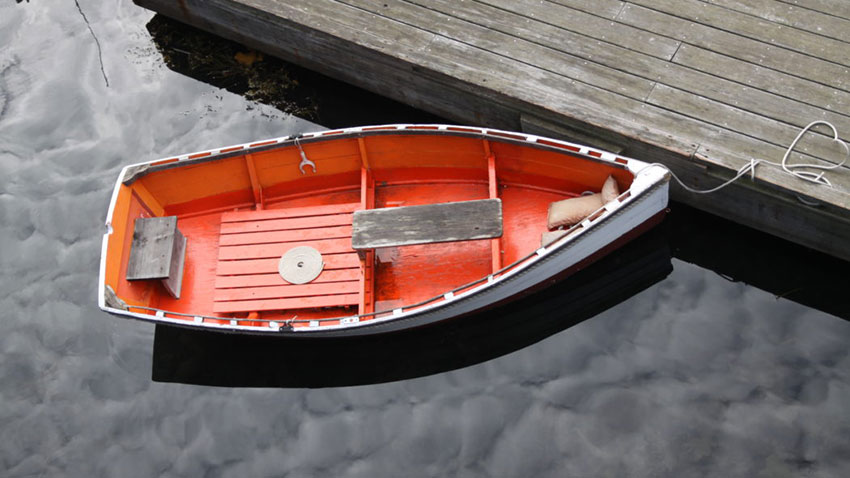 bright red dinghy