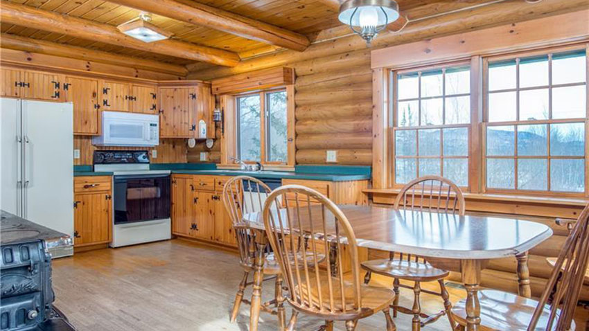Bethel Maine log cabin kitchen