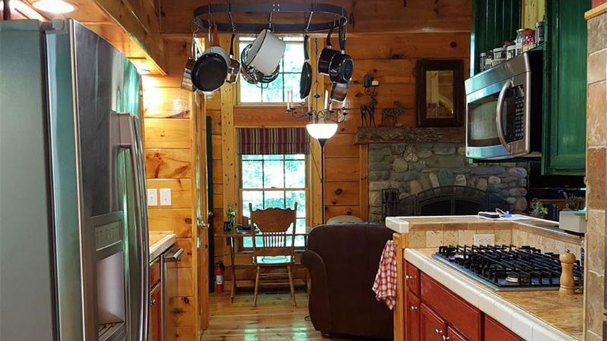 Rumford Maine log cabin kitchen
