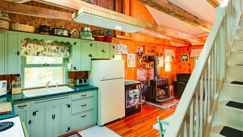 Islesboro Maine cedar cabin kitchen