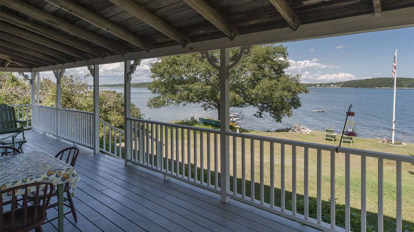Casco Bay cottage porch ocean view