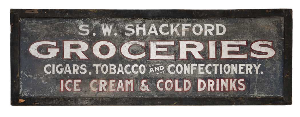 S.W. Shackford grocery store sign
