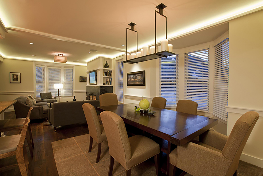 cream colored dining area