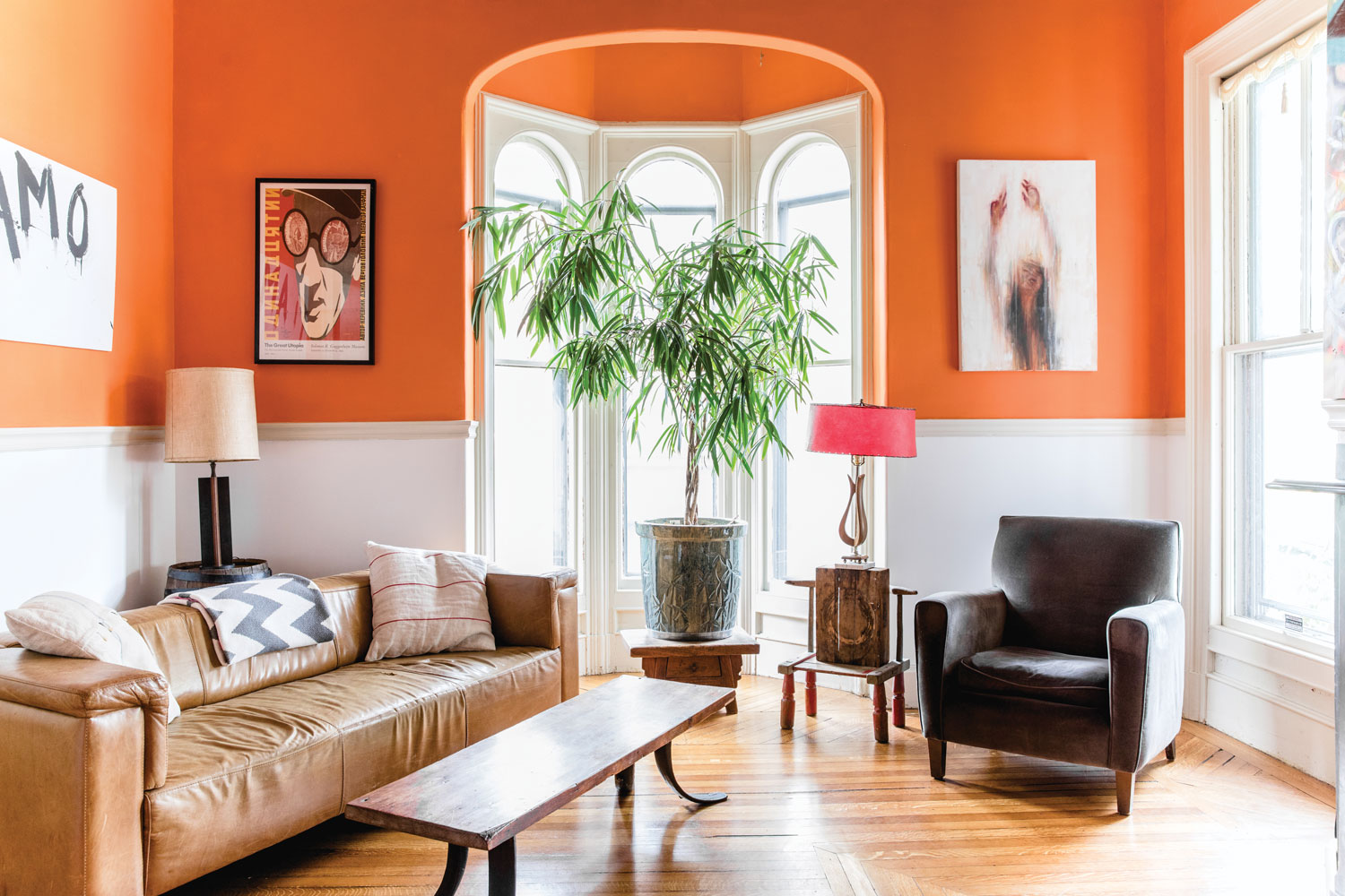 vibrant orange living room in Portland's West End