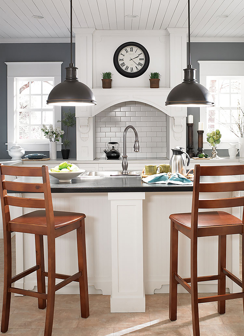 dark gray kitchen and island