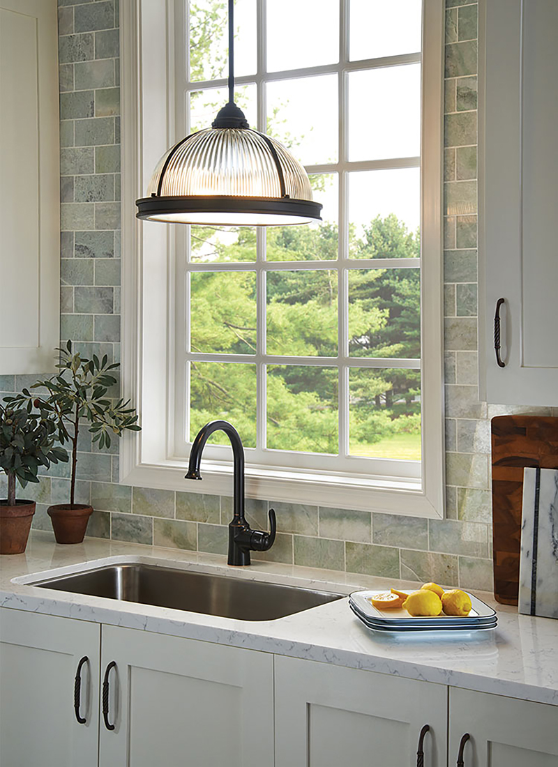 kitchen sink with task lighting