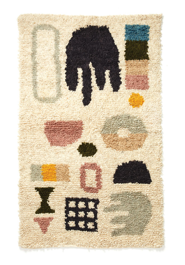 handwoven wool-and-cotton carpet
