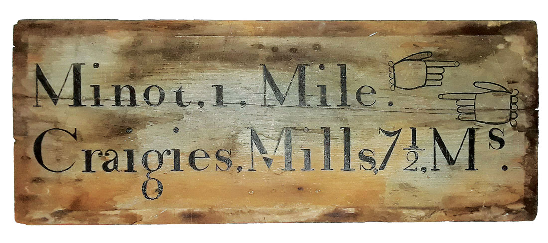 antique Craigie's Mill road sign