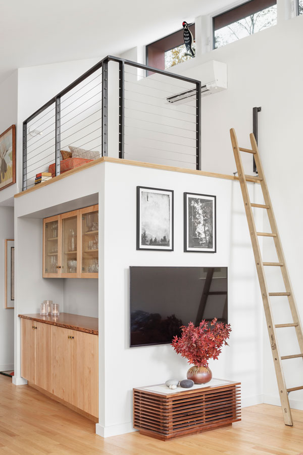 modern loft with ladder