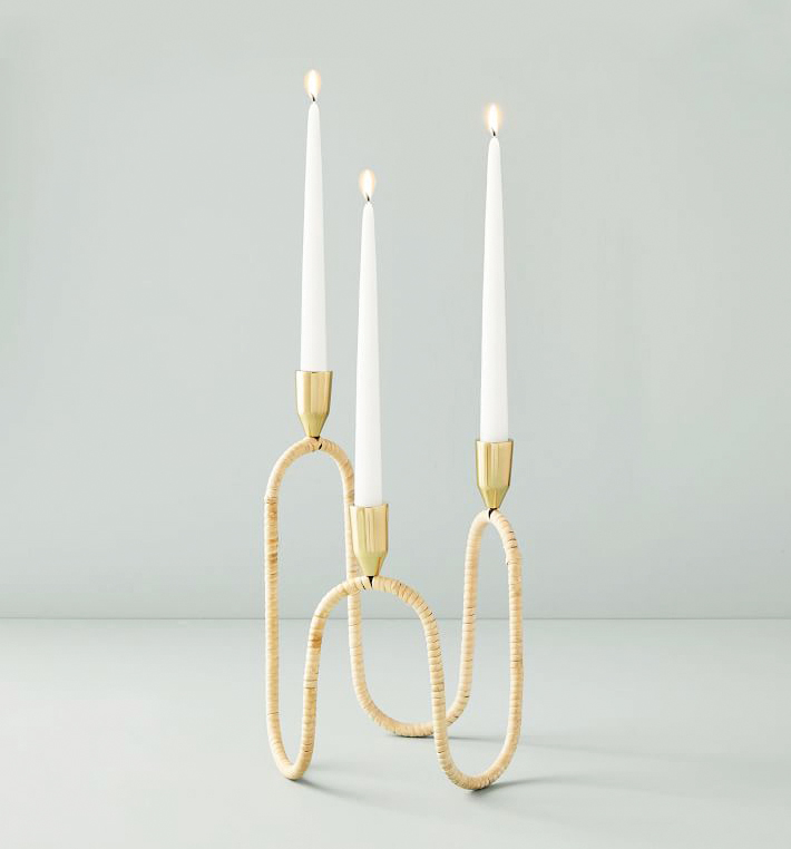 Rattan-Wrapped candle holder
