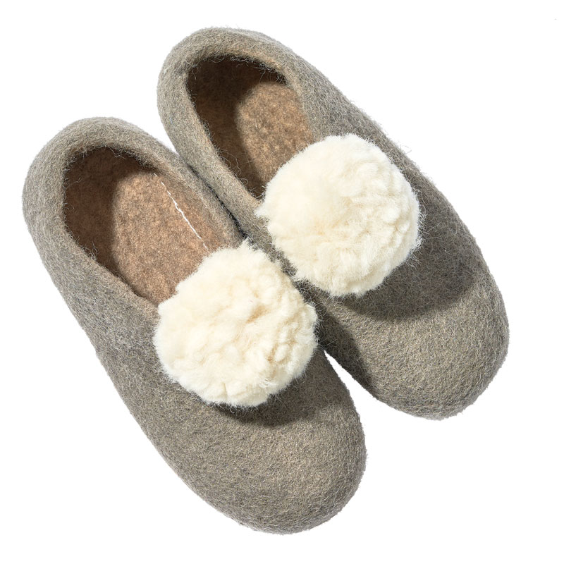 Mulxiply's Portland-designed, felted-wool Pom Pom slippers
