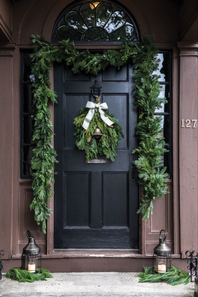 holiday décor ideas, balsam, cedar, and pine spray surrounding front door