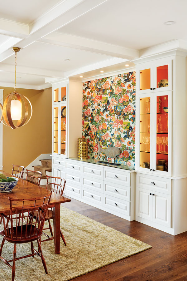 ways to use wallpaper, lining cabinet shelves and backs