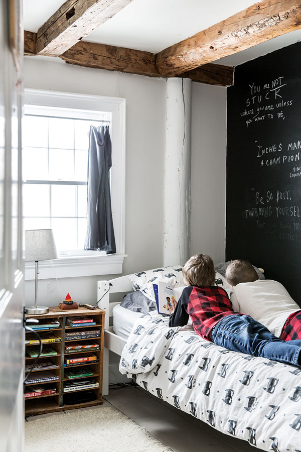 chalkboard wall in 12-year-old Sam's room in the Winterport Colonial