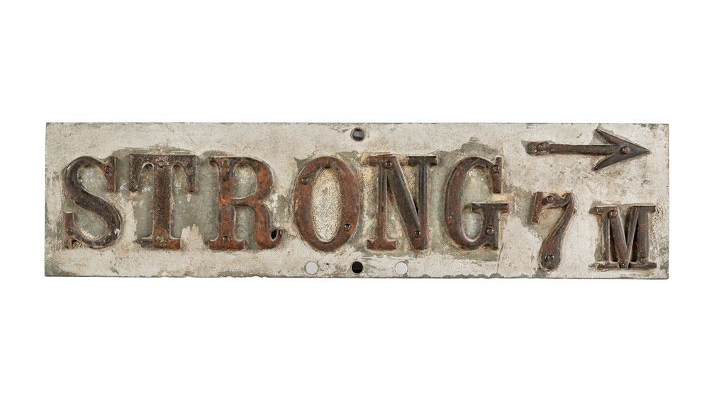 Maine antique appraisal, Strong Maine road sign