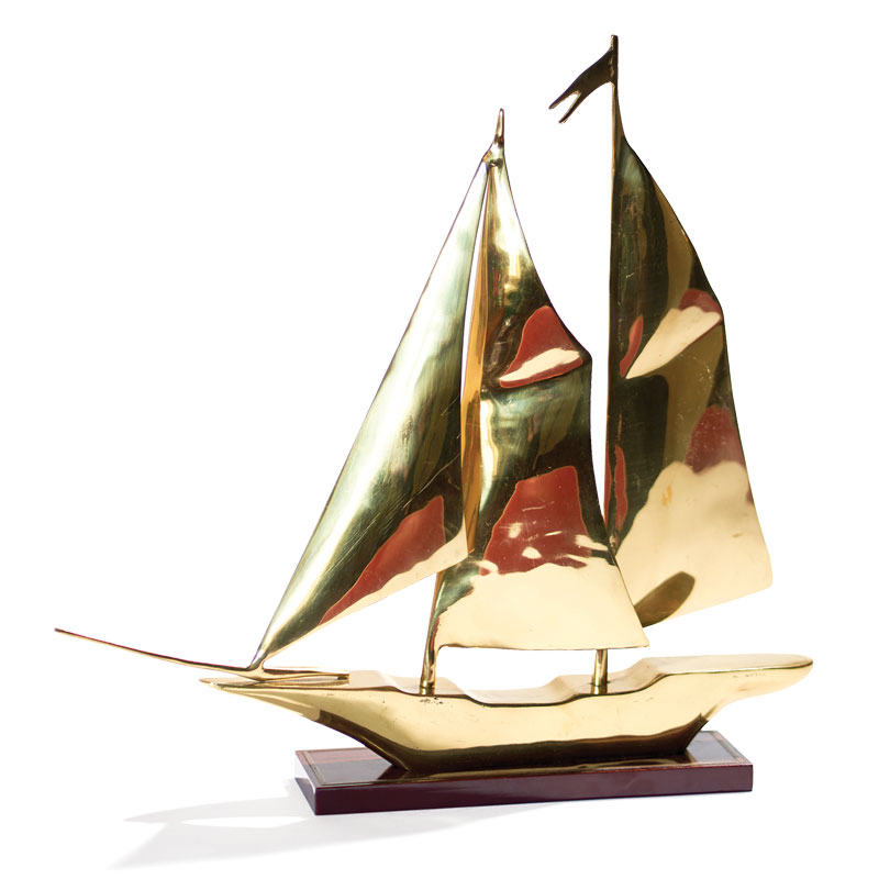 mid-century brass model ships