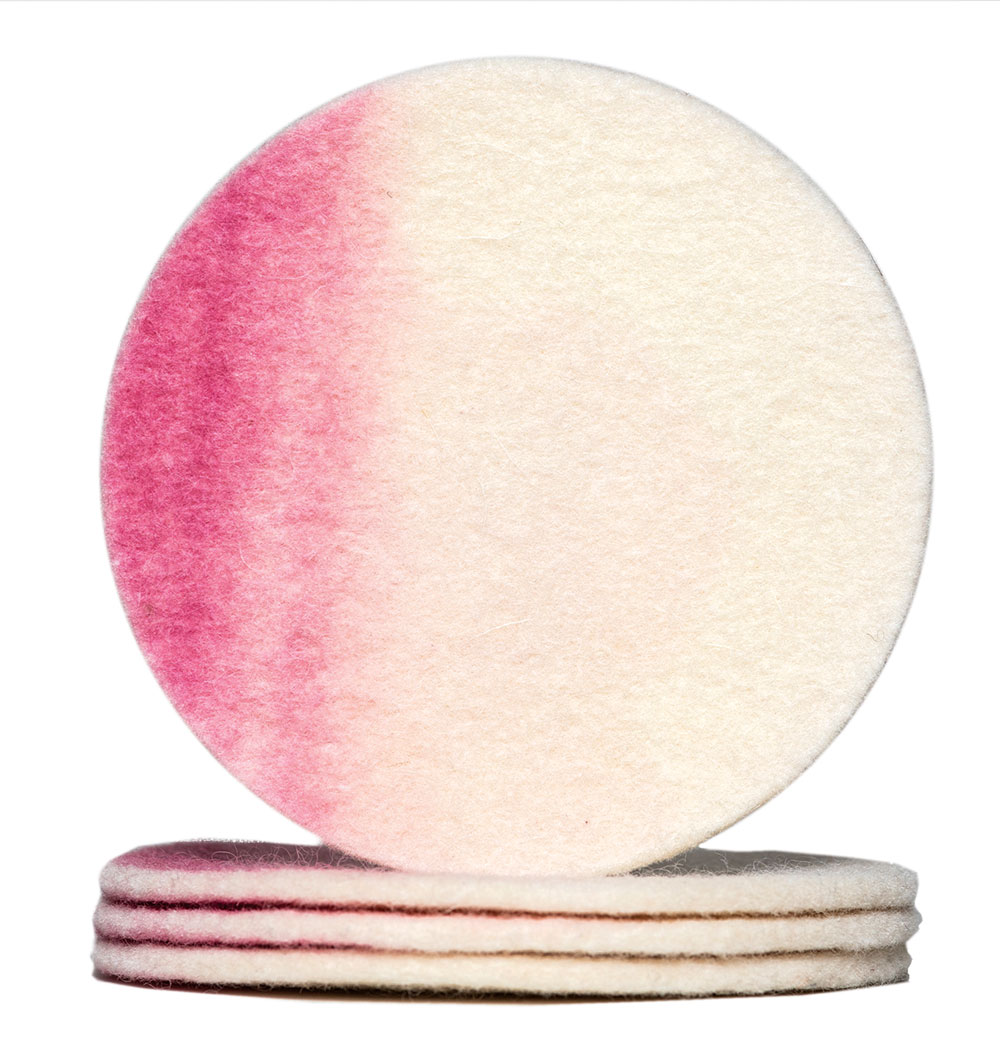 felt coasters by Portland's Melinda Aste, at Gingham on Main Street in Yarmouth