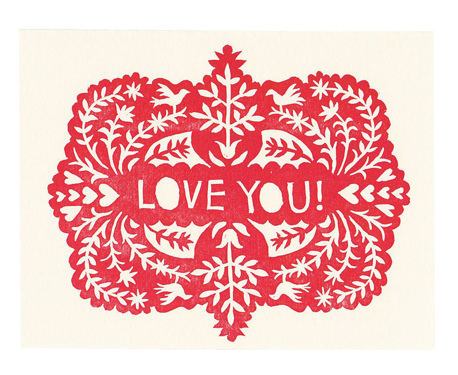 Eliza Jane Curtis block-printed Valentine's Day greeting card