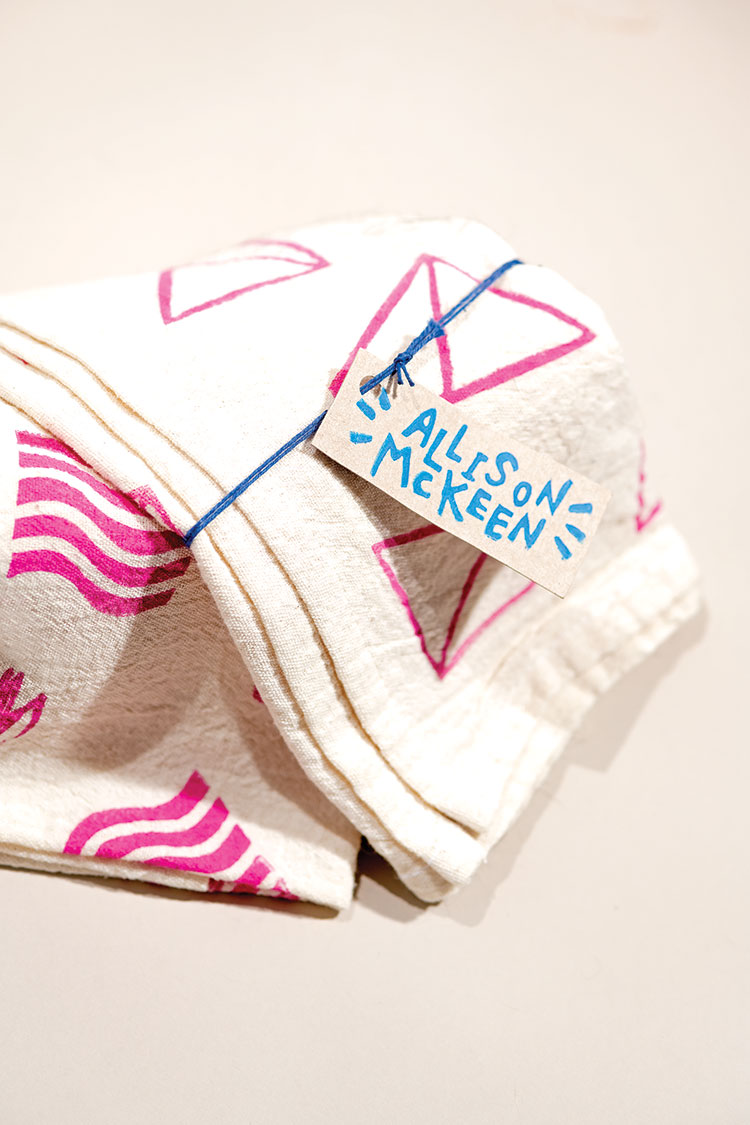 Allison McKeen's block-printed tea towels