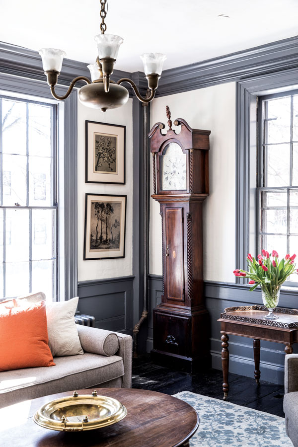 grandfather clock in the living room of the 1800 Federal home in Portland Maine