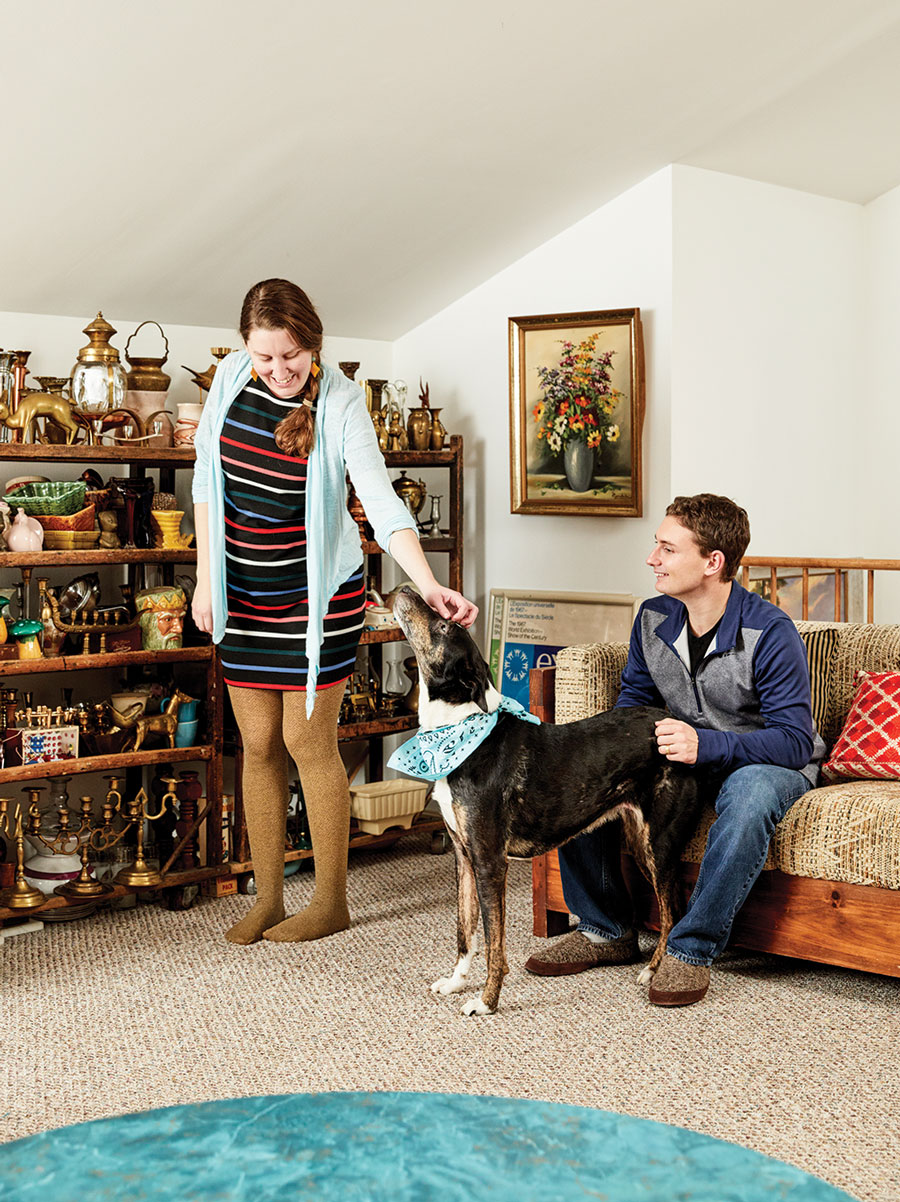 Heidi and Zach Beaudry in the den and office space of their Bangor Cape