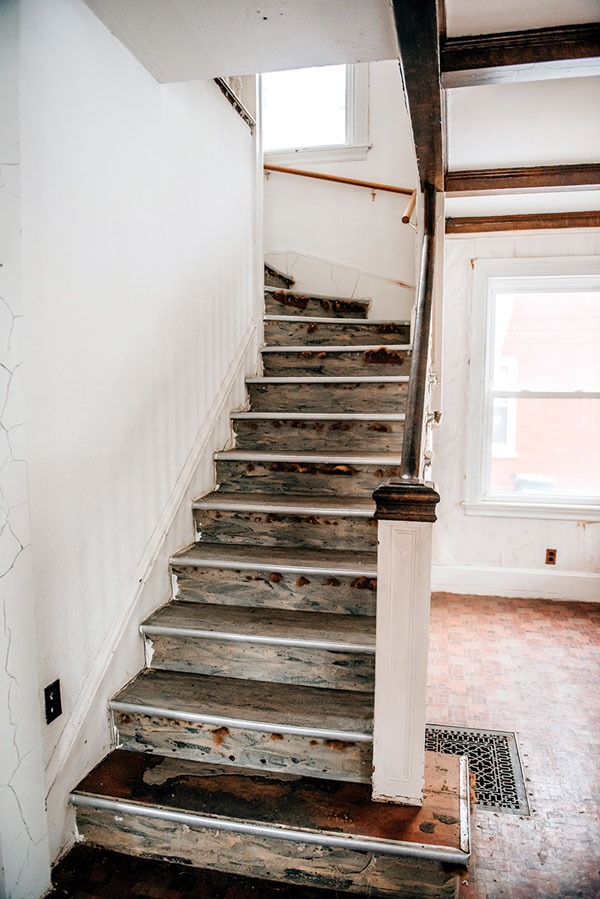 staircase in Rumford mill-worker's home