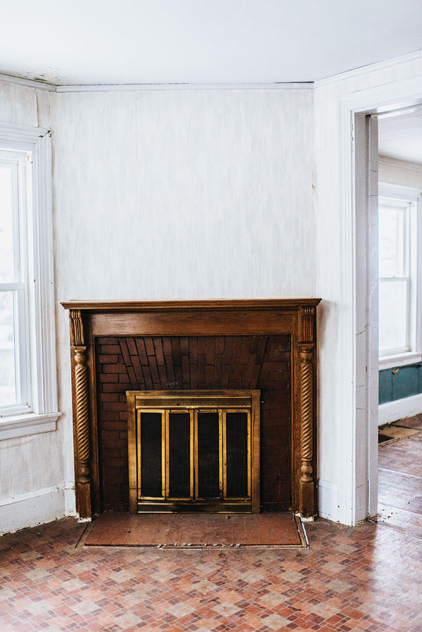 fireplace in Rumford mill-worker's home