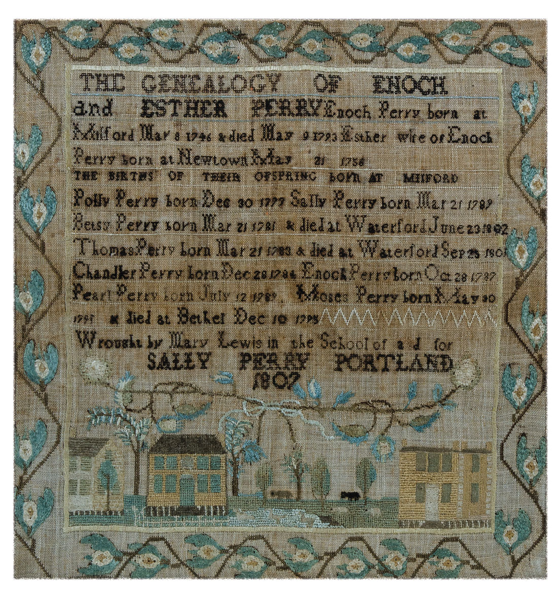 family register sampler from Misses Martin's School for Young Ladies in North Yarmouth