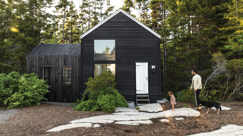 shou sugi ban or charred siding on home in maine
