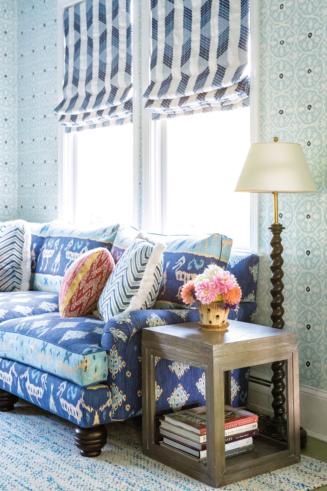 family room featuring Ikat II in Multi-Blues by Quadrille Fabrics