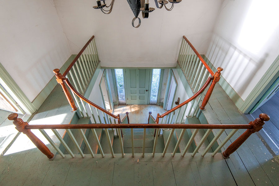 view from the top of a split staircase