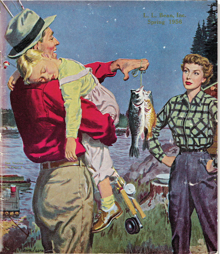 "Spring 1956 cover L.L. Bean catalog, ""Father/Son Fishing and Mom,"" by R.J. Cavaliere, 1956"