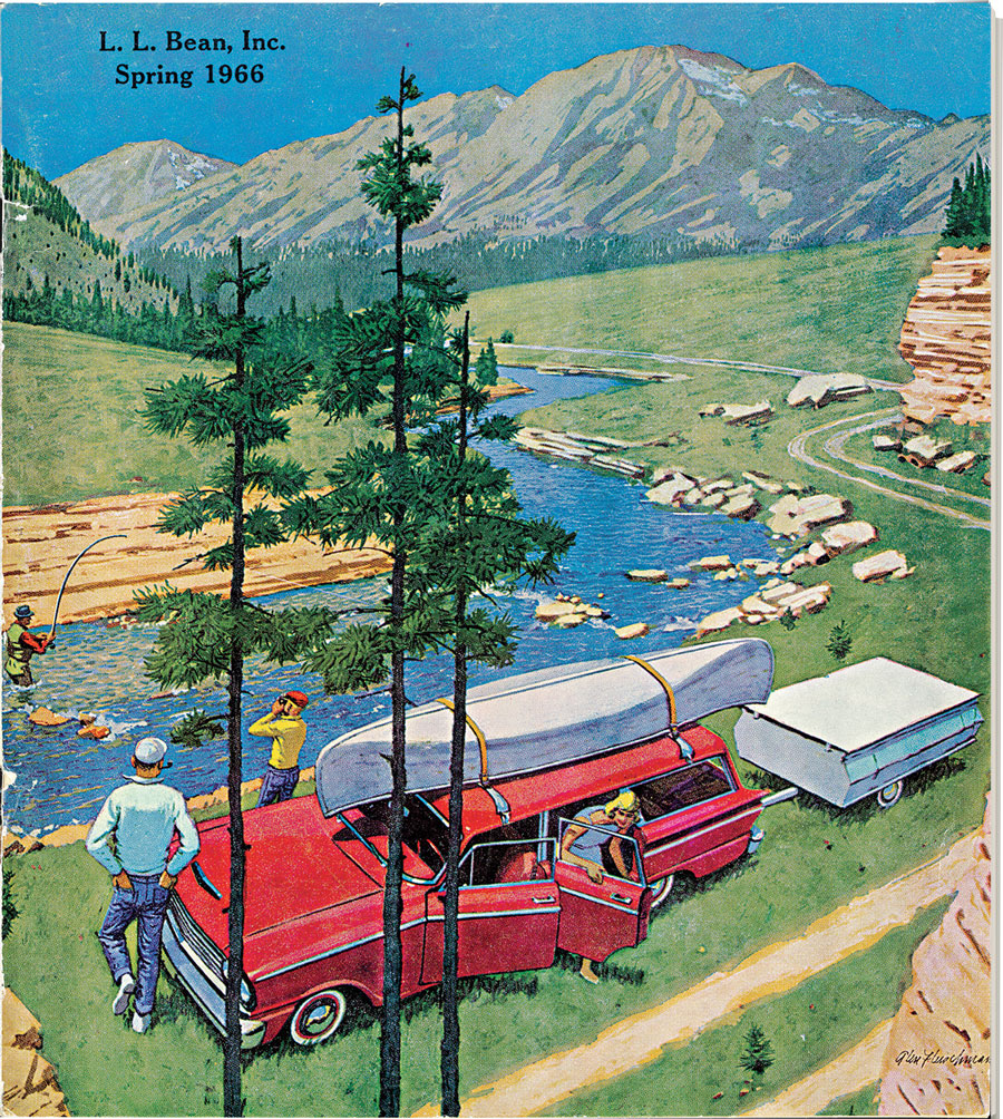 "Spring 1966 cover L.L. Bean catalog ""Perfect Spot,"" by Glen Fleischmann, 1966."