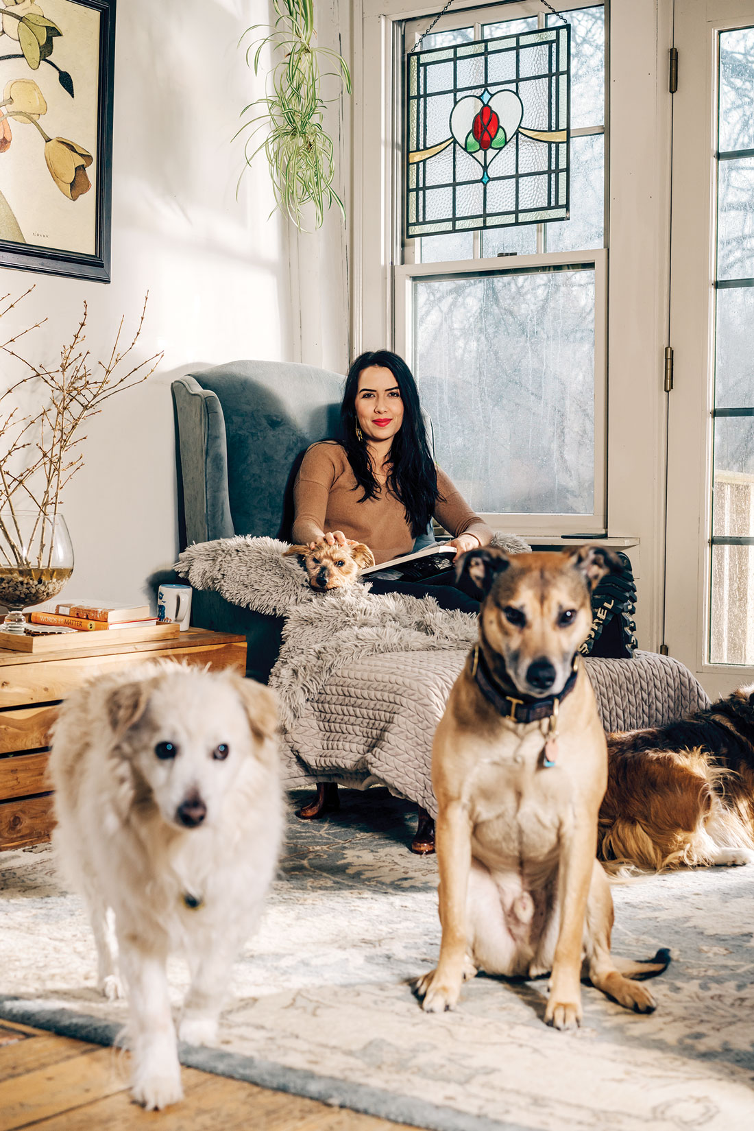 Rosanna Gargiulo and her dogs in her Dresden Maine home
