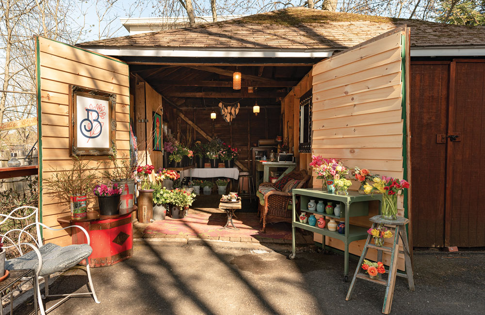 Shelley Stevens of Bloomers creates bouquets in her shed in Portland