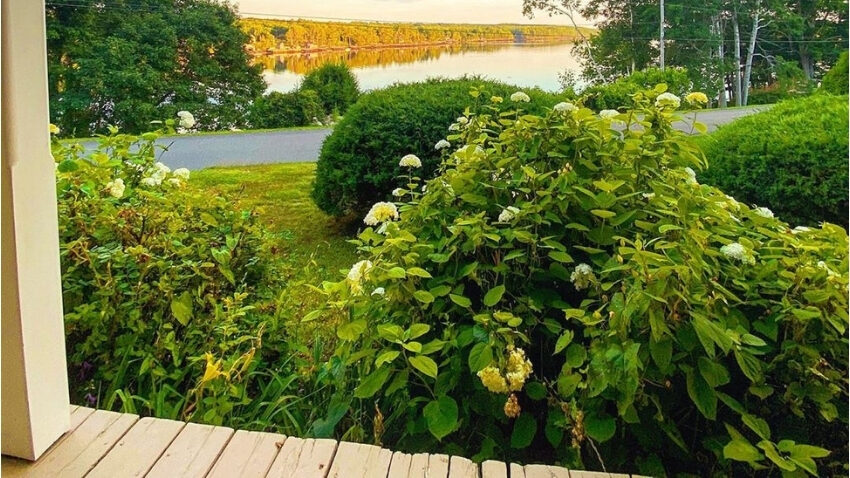 view from porch in Edgecomb, Maine