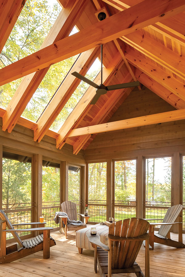 the guesthouse's vaulted screened porch