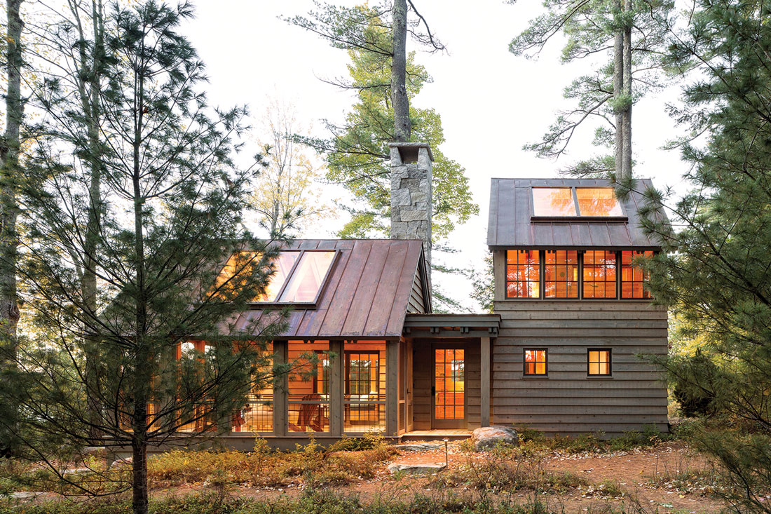 the exterior of the Sebago Lake retreat's guesthouse