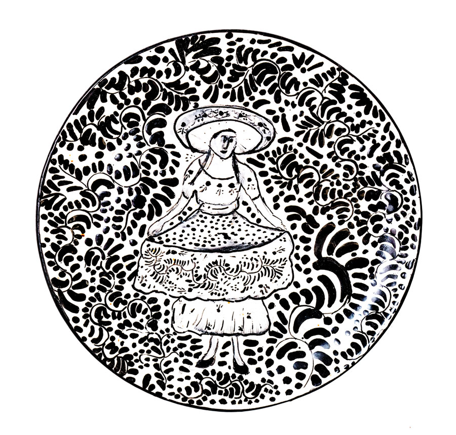 a painted plate by an unknown Mexican artist from Marfa, Texas