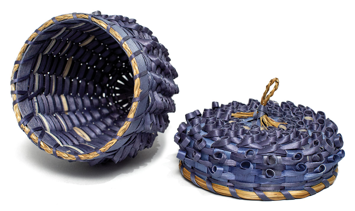 "Blueberry Basket, 2009, ash and sweetgrass, 12"" x 9.5"" by Molly Neptune Parker"