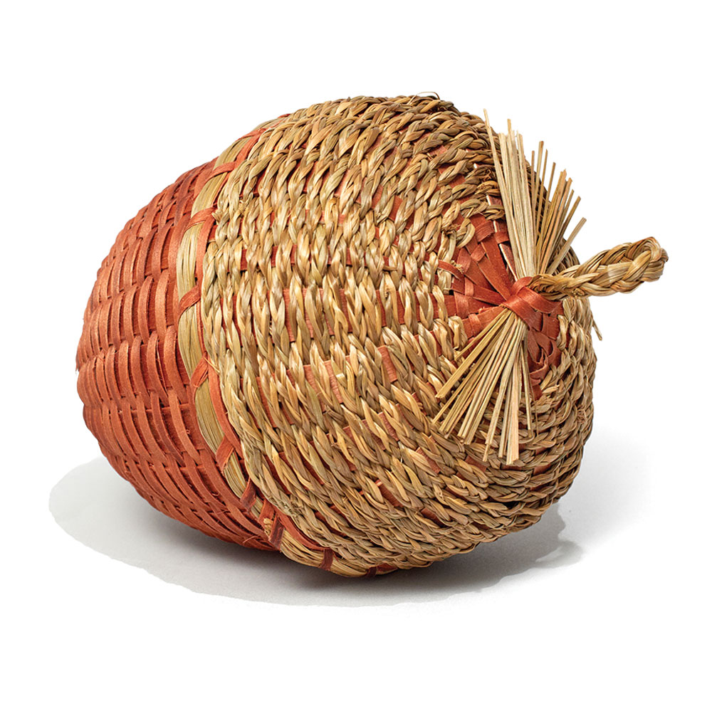 "Acorn Basket, 2007, ash and sweetgrass, 6.5"" x 4.25"", by Molly Neptune Parker"