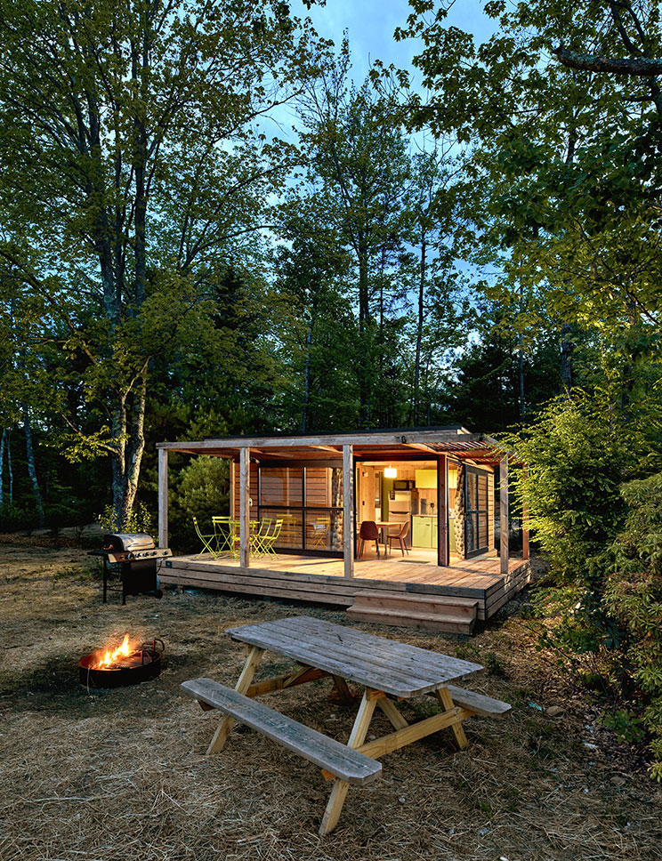 Huttopia Southern Maine, on 50 wooded acres fronting Sand Pond in Sanford