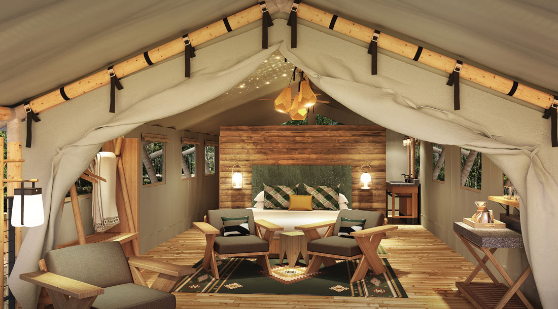 Terramor Outdoor Resort is KOA's first glamping venture, erected on one of its two existing Bar Harbor campgrounds