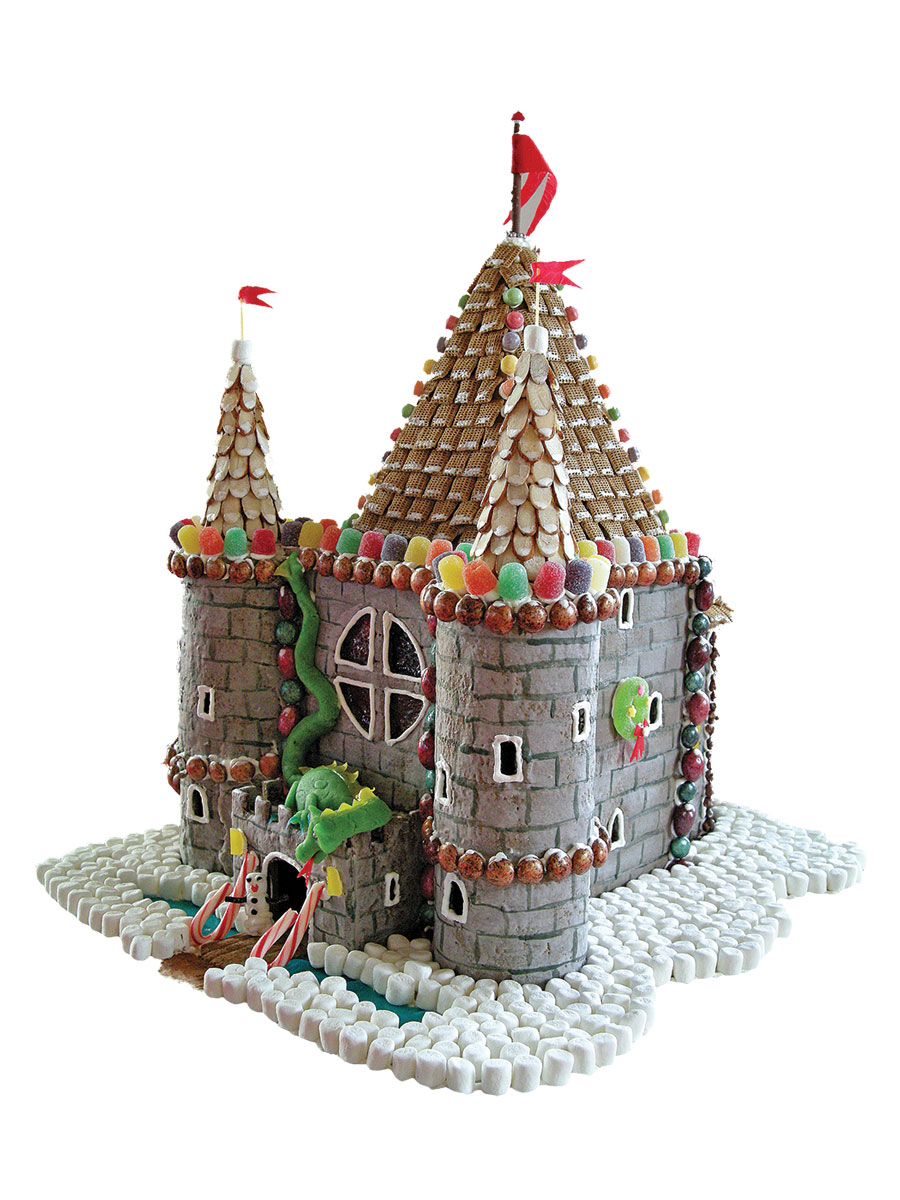 a gingerbread castle with an attacking dragon, both by locals Wendy and Alan Bellows
