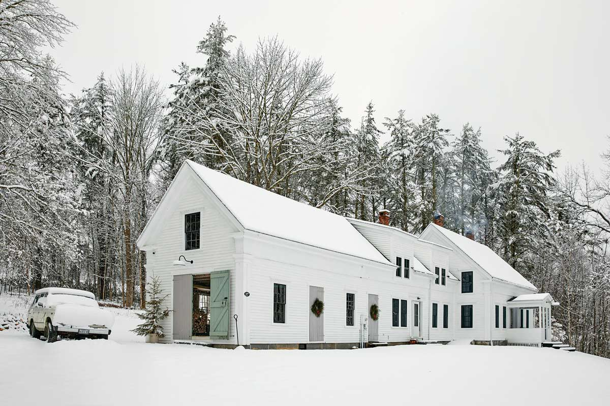 Boothbay Harbor farmhouse in winter