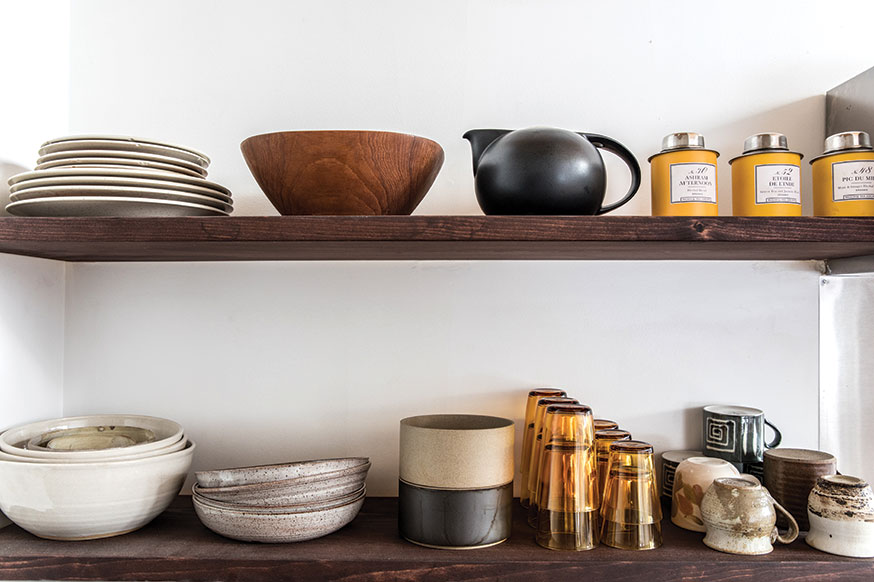 planters, vases, and dishes are by Ariela Kuh, of Camden's ANK Ceramics