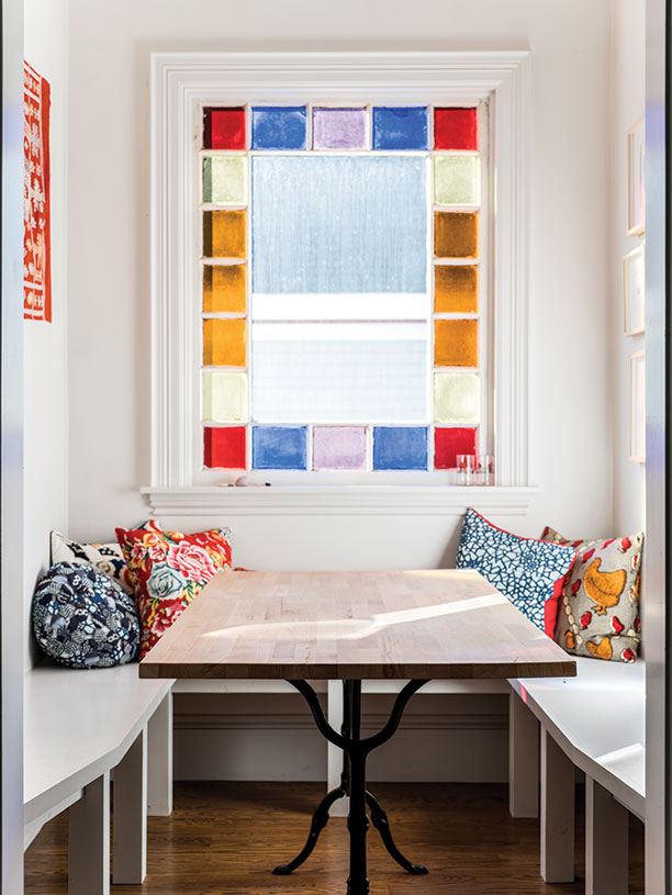 stained-glass breakfast nook