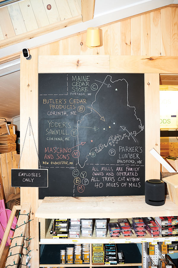 local timber whose origins are detailed on a chalkboard map