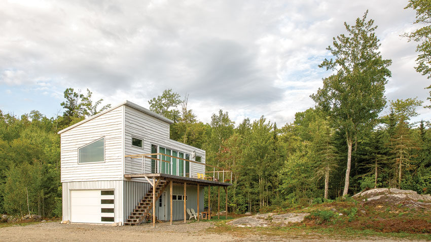 shipping container home in Brooklin, Maine
