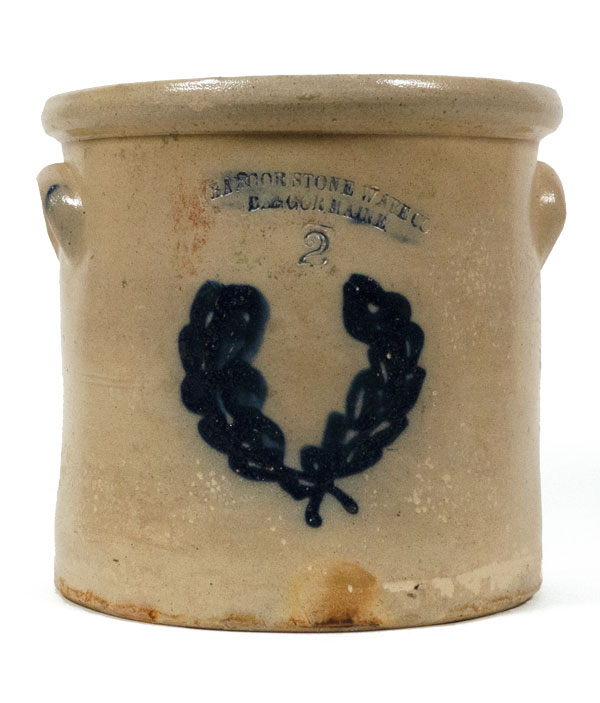 A 2-gallon salt-glazed butter pot by Bangor Stone Ware Company. Cylindrical lipped crock is common among stoneware collectors today.